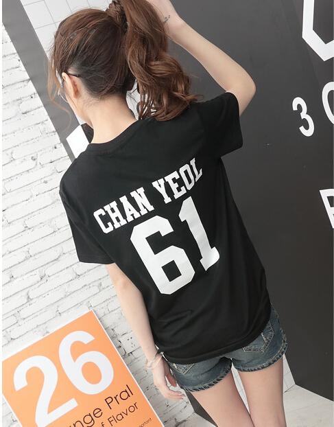 HTB1PU79KVXXXXbmXpXXq6xXFXXX7 - Summer Exo Letter Print O-neck Short Sleeve O-neck tshirt