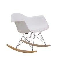 New York Design пластмассовое кресло качалка с металлической рамкой/рокер с деревянными изогнутыми полосами