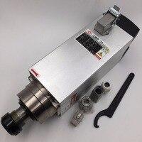 6KW Air-cooled Square Spindle Motor 18000rpm 220V 12.6A 300Hz ER32 Woodworking Spindle GDZ120x103-6 & 7.5kw VFD Inverter New