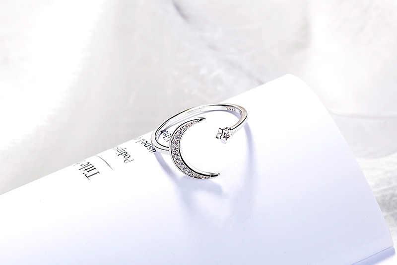 2019 ใหม่เงิน Crescent แหวนเลดี้กีฬา Casual Exquisite หวานโรแมนติกบรรยากาศเรียบง่ายผู้หญิงเปิด Moon แหวน