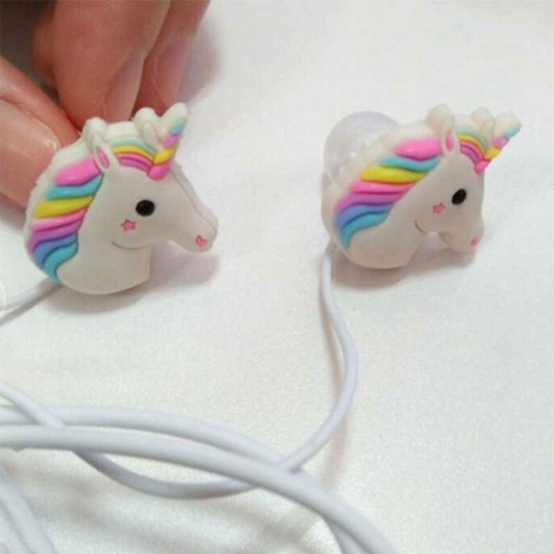 3 5mm Wired Cheap Earphone with Microphone Stereo Cartoon Girl Horse Stereo Bass Earphone For Iphone