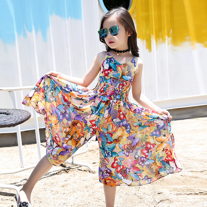 2017 New Bohemian childrens Dress girl summer floral wide leg pants jumpsuit Girls personality dress Factory outlets 16 years