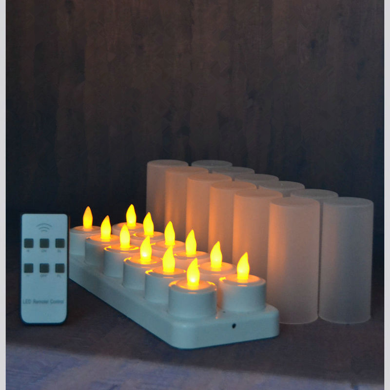 set of 12 remote controlled LED candles Flickering frosted Rechargeable Tea Lights Electronics Candle lamp Christmas