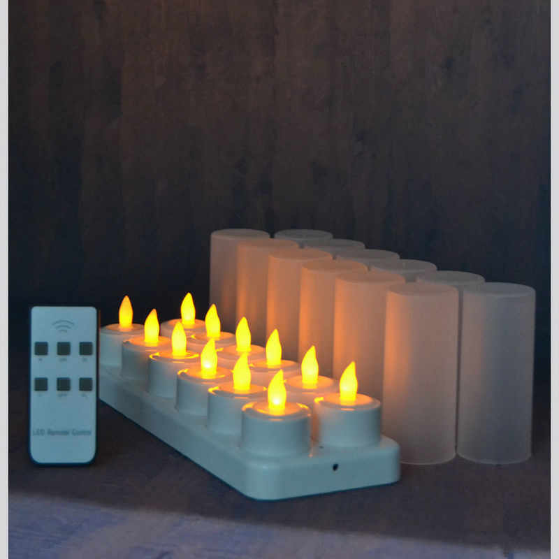 set of 12 remote controlled LED candles Flickering frosted Rechargeable Tea Lights/Electronics Candle lamp Christmas Wedding bar