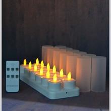 مجموعة من 12 التحكم عن الصمام أضواء الشموع الخفقان متجمد الشاي قابلة/إلكترونيات شمعة مصباح شريط زفاف عيد