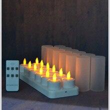 Set van 12 afstandsbediening LED kaarsen Flickering frosted Oplaadbare Thee Lichten/Elektronica Kaars lamp Kerst Bruiloft bar