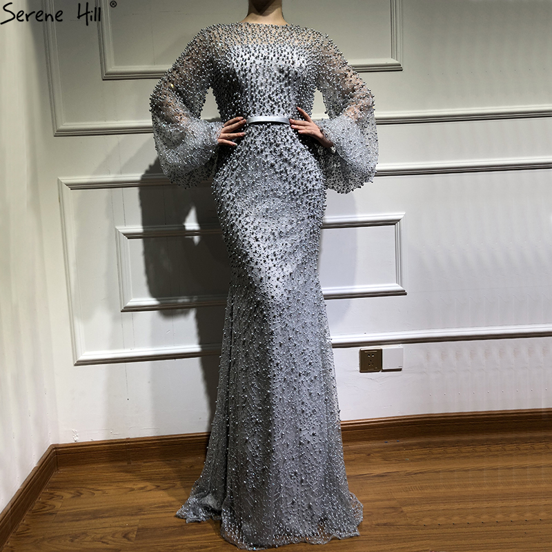 Muslim Long Sleeve Arabic Beaded Mermaid Formal Evening Party Prom Gown Dress Robe De Soiree kaftan Dubai Gowns Dresses BLA6556