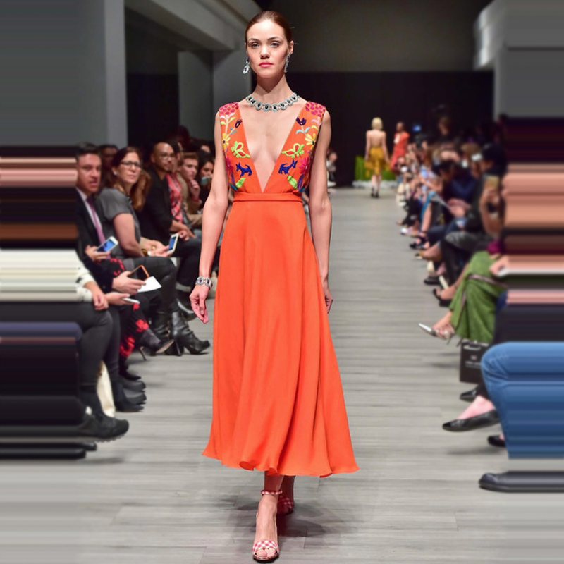 Ky&Q 2018 Spring Runway Sexy Deep V Neck Long Orange Dresses With Lining Embroidery High Waist Maxi Dresses Elegant Vestidos ...