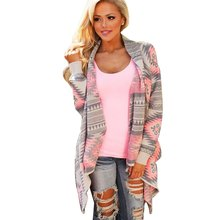 Retro Style Lady Knitted Cardigan Winter Stylish Collarless Long Sleeve Tribal Print Asymmetrical Womens Warm Sweaters for Women