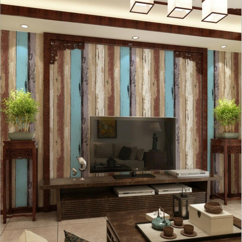 Vintage Study Room: Beibehang Colored Wooden Striped Wallpaper American Retro