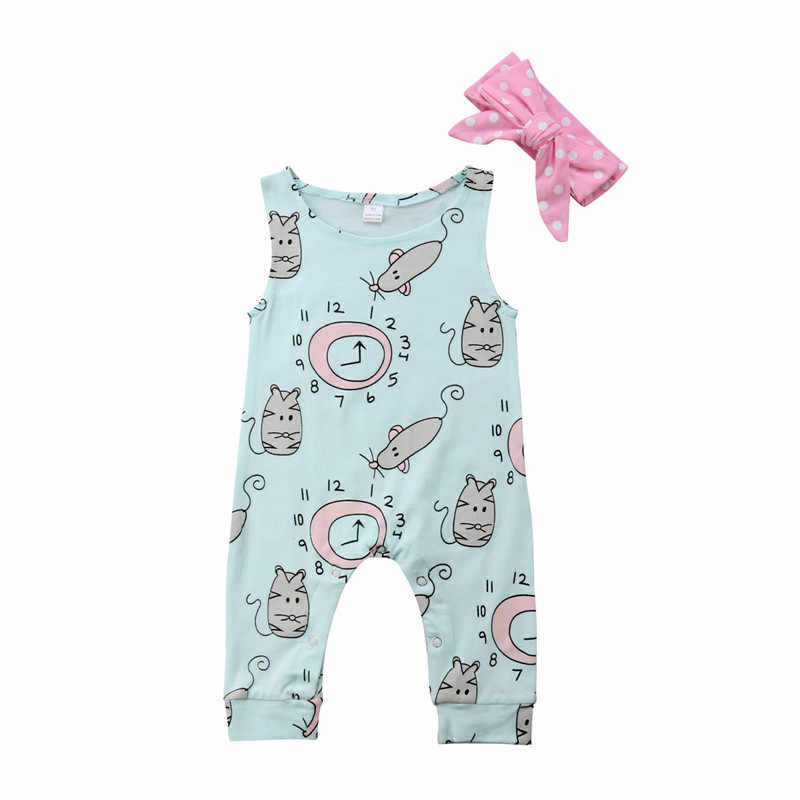 Balita Bayi Gadis Pakaian Busur Titik Ikat Kepala Leher Bulat Tak Berlengan Geometri Rompers 2 PC Katun Anak-anak Musim Panas Pakaian Lucu