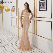 CEEWHY High Collar Formal Evening Dresses Beaded Mermaid