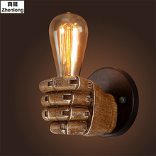 Steel Retro Creative Fist Shape Wall Lamp E27 Lamp Holder Fixtures Industrial Style Personality Loft Industrial Vintage Wall Led