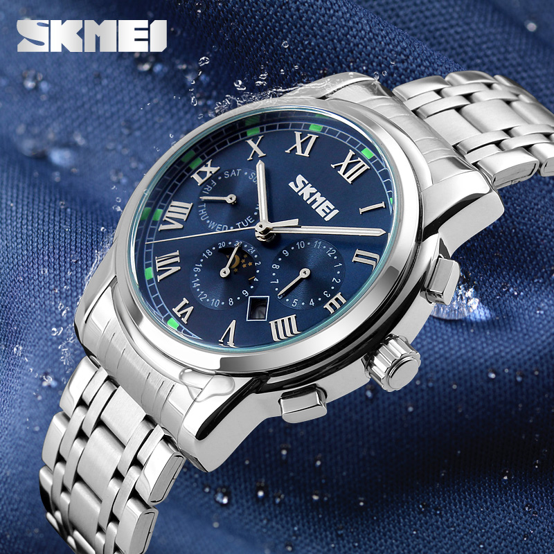 SKMEI Moon Phase Quartz Watch Men Business Complete Calendar Man Wristwatches Waterproof 30m Relogio Masculino Fashion 9121 moon flac jeans
