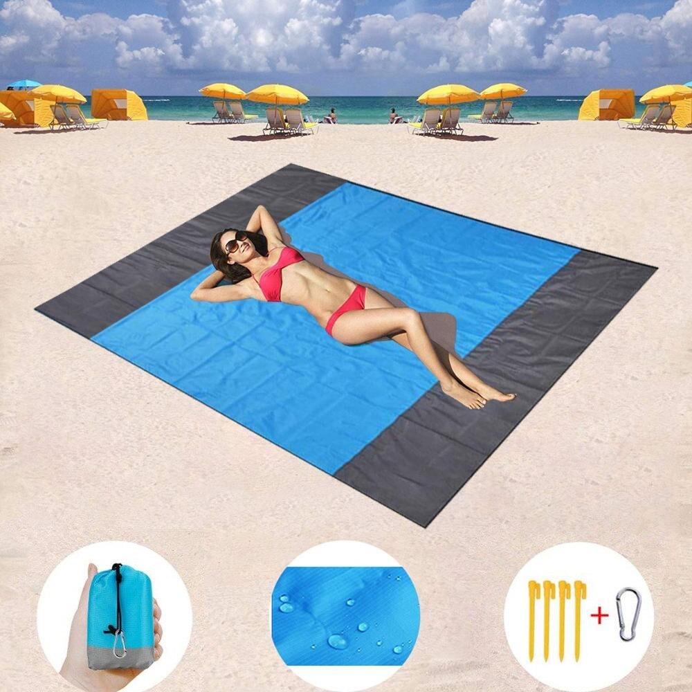 200x210cm poche pique-nique imperméable tapis de plage sable couverture gratuite Camping en plein air pique-nique tente pliante couverture literie