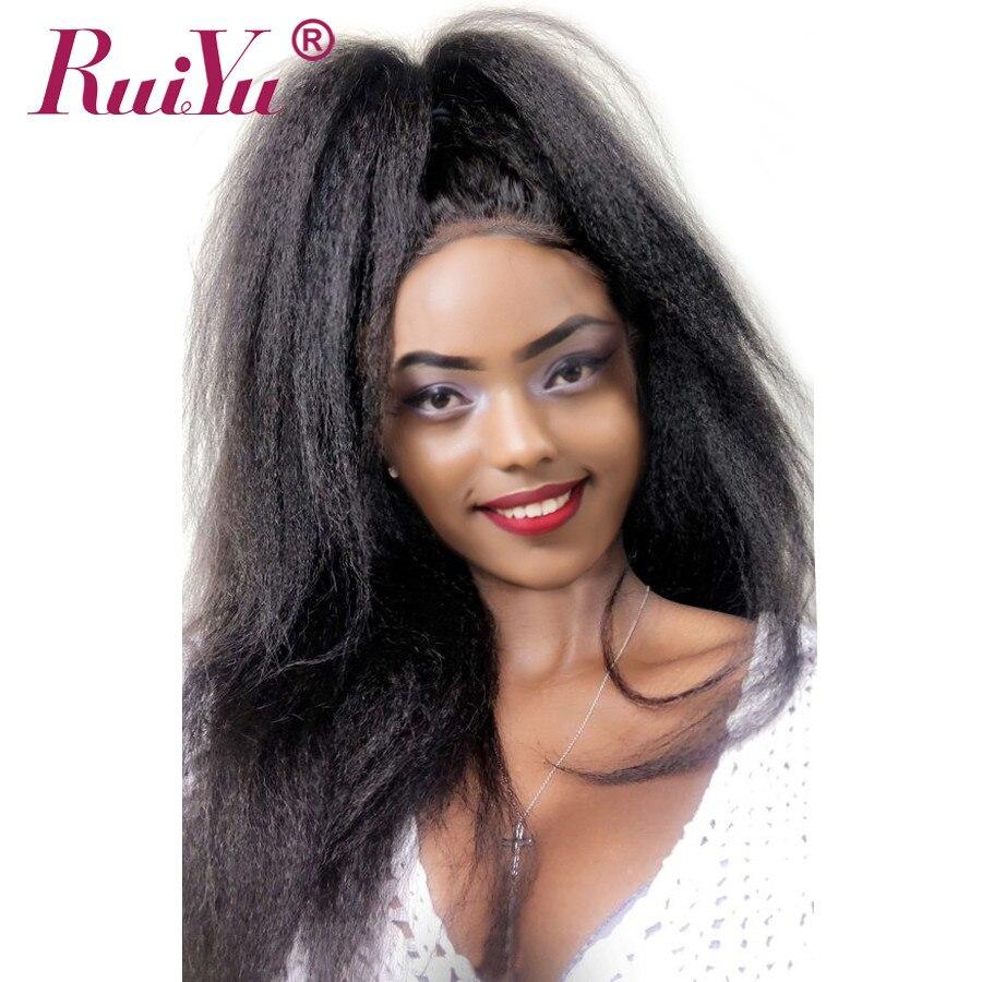 RUIYU Kinky Dentelle Droite Avant de Cheveux Humains Perruques Pour Les Femmes noires Brésilien Remy Perruques Pré Pincées Yaki Sans Colle Dentelle Perruques plein Fin