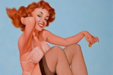 Home decoration vintage sexy pinup models 02 Silk Fabric Poster Print RW273
