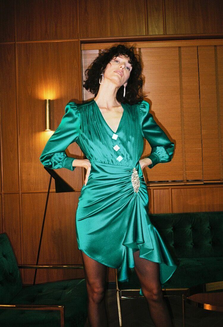 Aderente Alta Lunghe Verde Vestito V Dalla 2019 Mini Serxy Fasciatura Elegante Di Dropshipping Qualità Maniche A Donne Button Scollo 5n7qZgOW