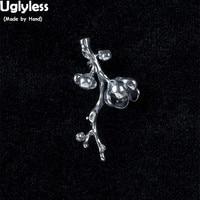 Uglyless 100% Real 925 Sterling Silver Handmade Flowers Brooch for Women Thai Silver Plum Blossom Branch Brooch Handmade Jewelry