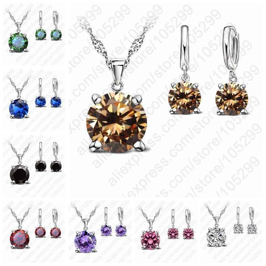 Kualitas Nyata 925 Sterling Silver Pernikahan Perhiasan Set Wanita 5A Zirkonia Kubik Bulat Liontin Kalung Hoop Anting-Anting Set