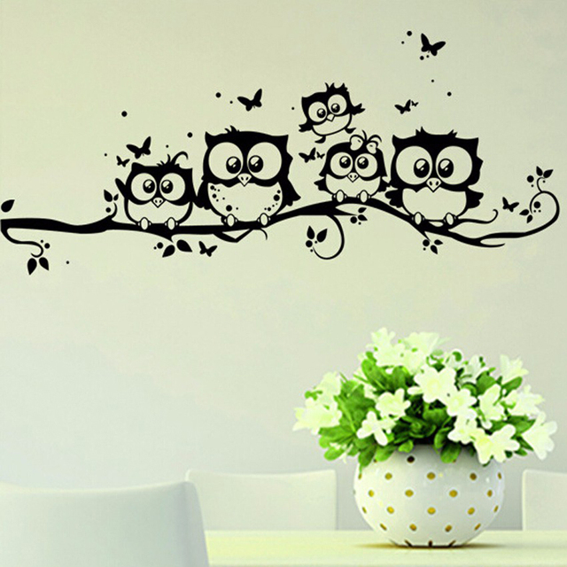 2PCS Black Owl Wall Stickers For TV Background 3d Wall Decals 3d Vinyl Walls  Home Decor