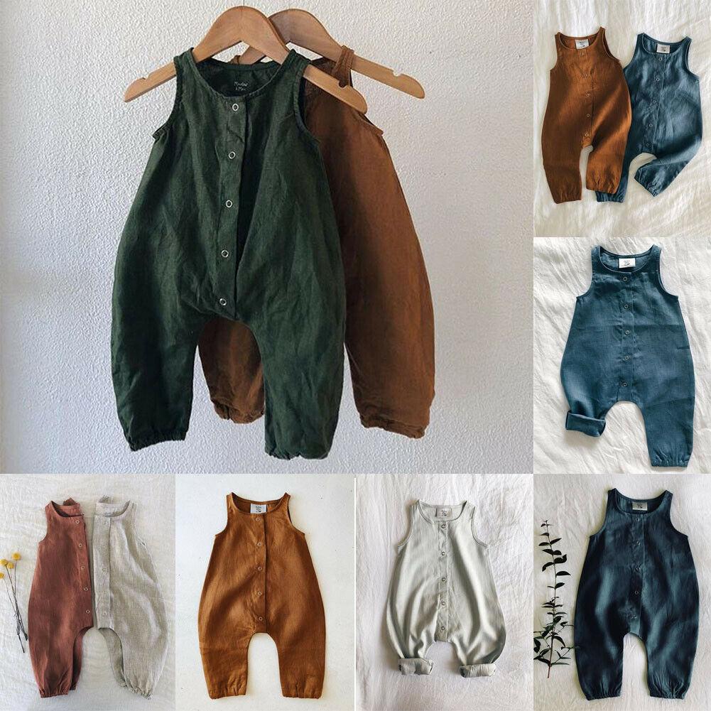 PUDCOCO Cute Kids Newborn Baby Boy Girl Cotton Linen Romper Solid Sleeveless Striped Jumpsuit Outfit Summer Innrech Market.com