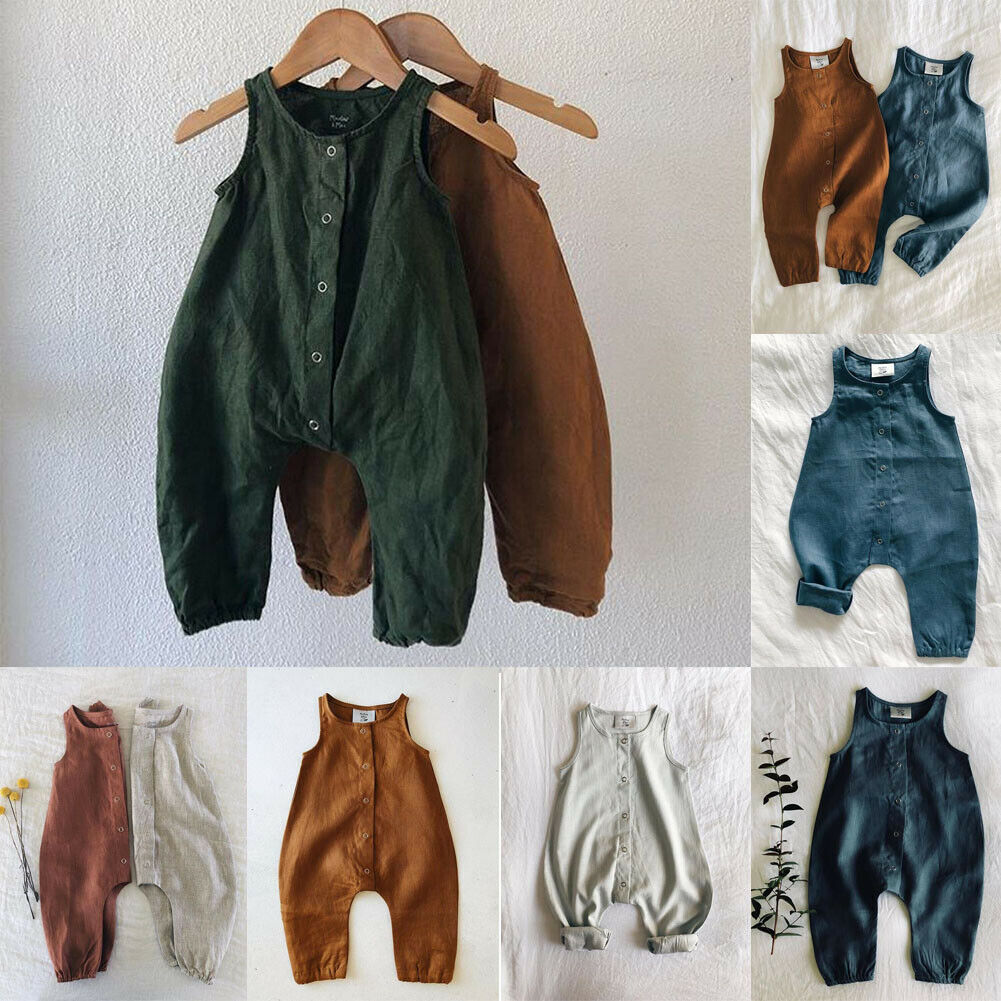 CANDYEEMMA Toddler Baby Overalls Newborn Cotton Romper Linen Jumpsuit Shorts Outfits