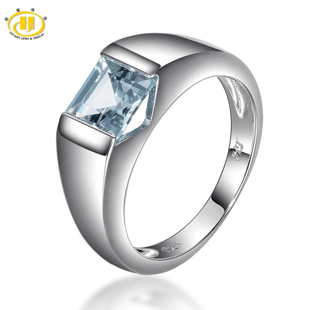 HUTANG NEW Natural Aquamarine Princess Cut Solid 925 Sterling Silver Ring Gemstone Fine Jewelry Women's