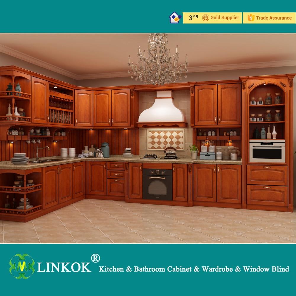 Linkok Furniture Dark brown solid wood kitchen cabinets modular ...