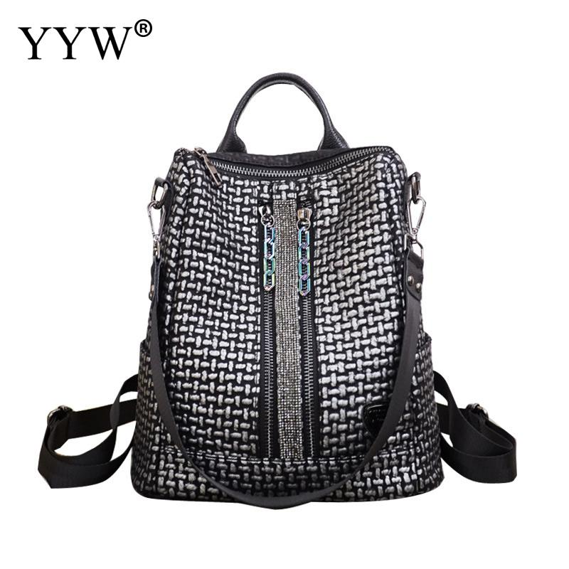 Female Backpack Soft-Surface Rucksack Hand-Bag Teenage-Girl Large-Capacity Black Women