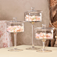 European style transparent Glass bottles dust-proof lid storage cake stand dessert candy jars tea caddy vase wedding home Decor