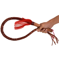 LOCLE 100cm Leather Whip Riding Crops Party Handle Flogger Queen Horse Whip for Horse Racing Riding Equestrian Entertainment
