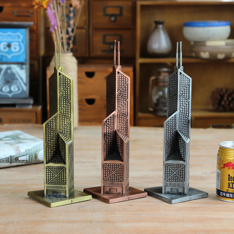 10 tums byggnadsstaty Metal Craft Bank of China Tower Metall Tower GIFT Decorartive Craft Figurine Heminredningstillbehör