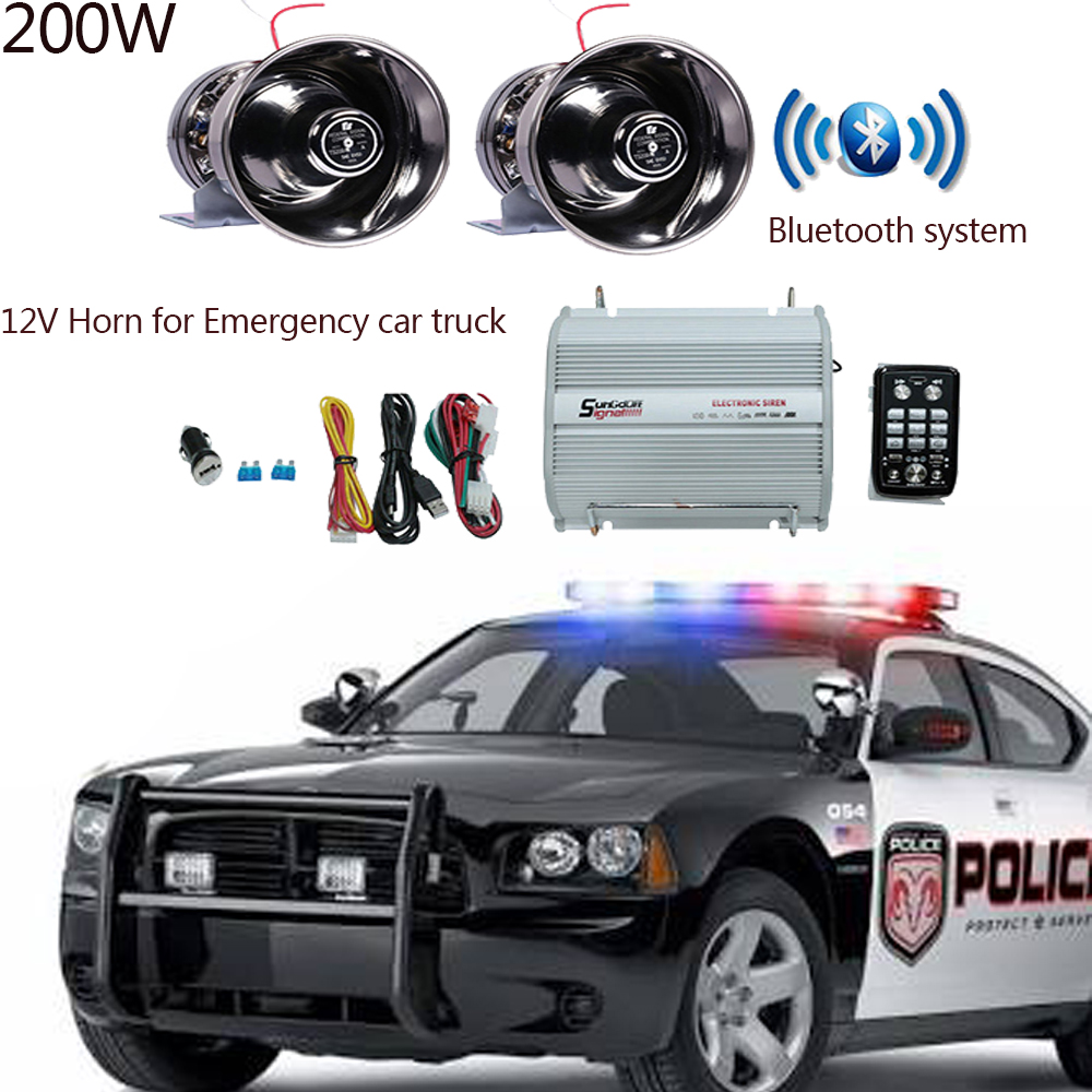LARATH 200W DC12V Car Truck trailer 8 sound Loud Alarm horn Siren Speaker Auto Police Fire Horn PA Siren Bluetooth control w h30 black reversing alarm speaker back up waterproof reverse backup alarm horn for car vehicle truck 12v 24v 48v 60v