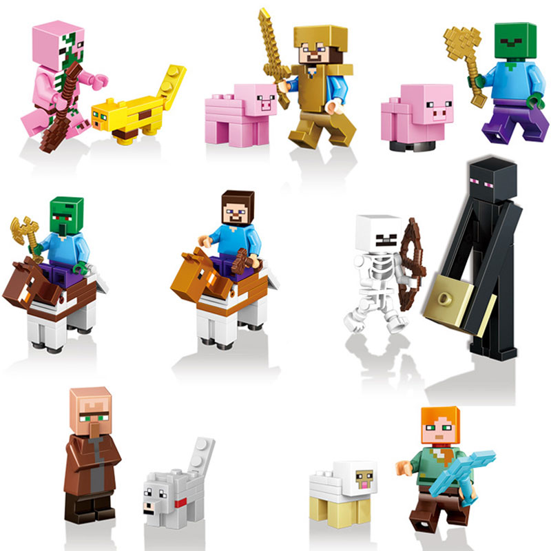 16pcs/set Minecrafted Action Figures Toys Diamonder Armor Steve Alexer Zombie Skeleton Compatible Legoinglys Minecrafted Blocks minecraft 4 in 1 building blocks minecraft figures dragons toys steve zombie alex witch zombie skeleton compatible blocks e