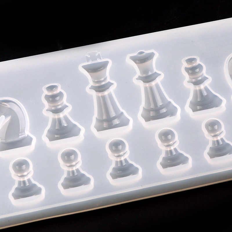 قالب من السيليكون لالراتنج الشطرنج الدولي شكل سيليكون الأشعة فوق البنفسجية الراتنج لتقوم بها بنفسك الطين الايبوكسي دلاية من الراتنج قوالب للمجوهرات