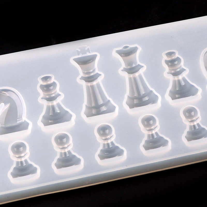 用シリコンモールド樹脂国際チェス形状シリコーン uv 樹脂 diy 粘土エポキシ樹脂ペンダント金型のためのジュエリー
