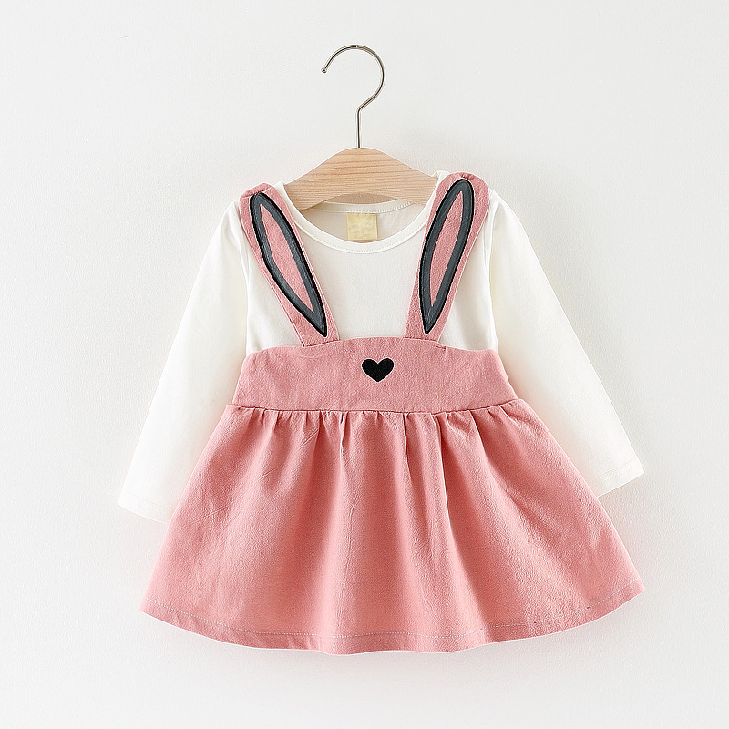 Baby Dresses 2018 Summer New Baby Girls Clothes cartoon rabbit Mini Baby Princess Dress Cute Cotton Fake two piece Kids Clothes