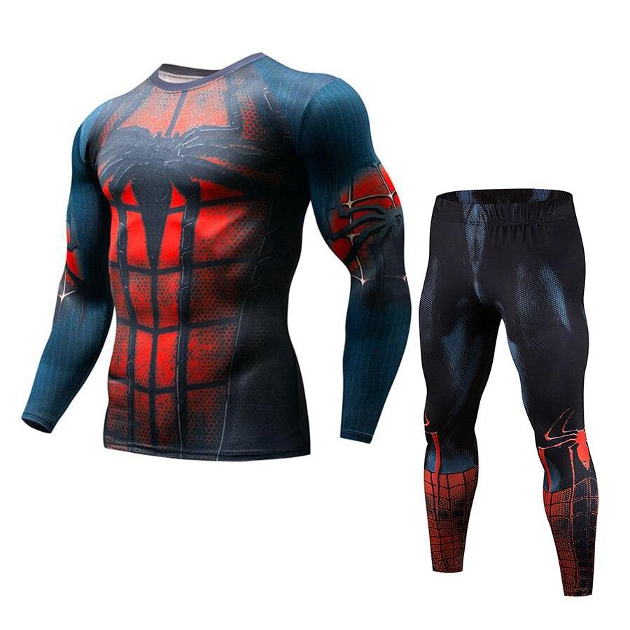 Mens Compression Suit Men Jogging 2pcs/Sets MMA Red Spiderman Batman Captain America Running Clothes For Men Ropa Gym Hombre