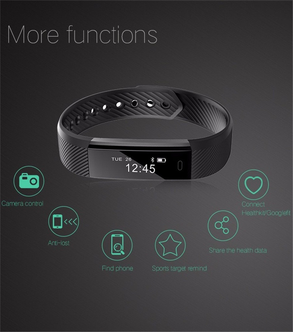 Smart Wrist Watch Bluetooth Bracelet Wristband Pedometer Sport Fitness Tracker ID115 Waterproof For Android IOS ...