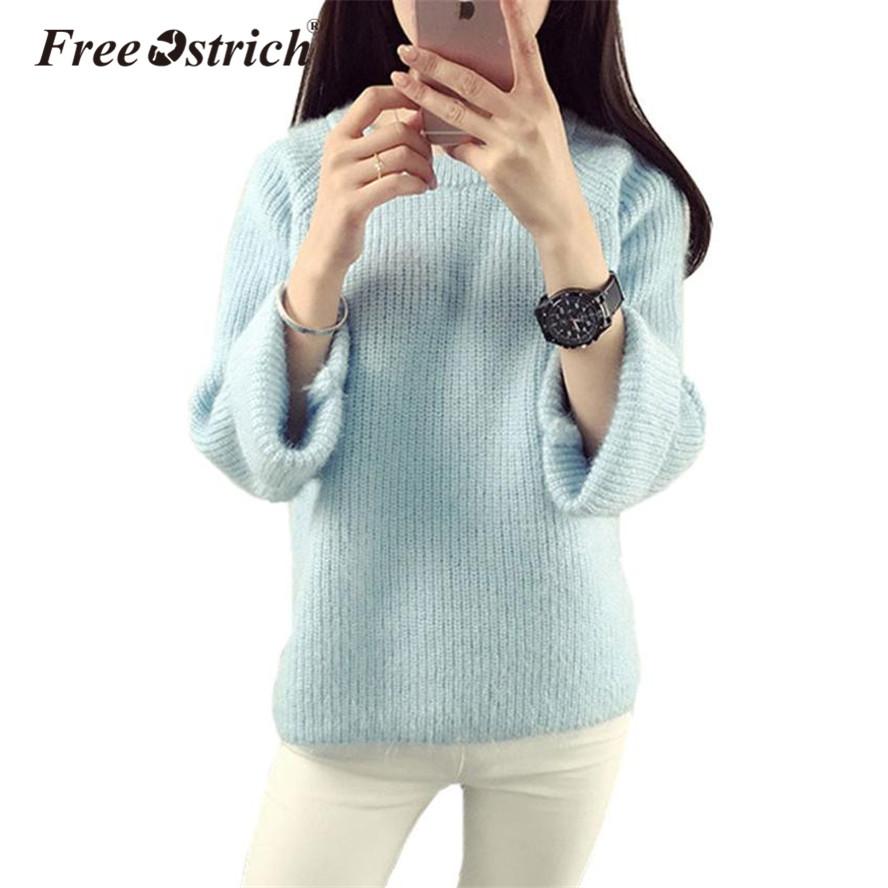 Free Ostrich Sweater Women Pullover Sweater 2020 Winter Warm Clothes Candy Colors pull femme Comfort Soft Wool Dropshipping De9