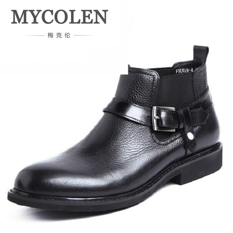 MYCOLEN 2018 Handmade Genuine Cowhide Leather Men Winter Boots High Quality Winter Men Boots Business Ankle Martin Boots For Men