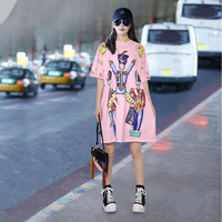 New Euro Female Spring Black Pink Characters Printed Dress O Neck Half Sleeve Ladies Fashion Knees