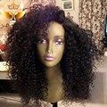 Full lace afro kinky curly peruca de cabelo humano glueless rendas completo perucas virgens brasileiras com o cabelo do bebê parte lateral perucas de cabelo brasileiro