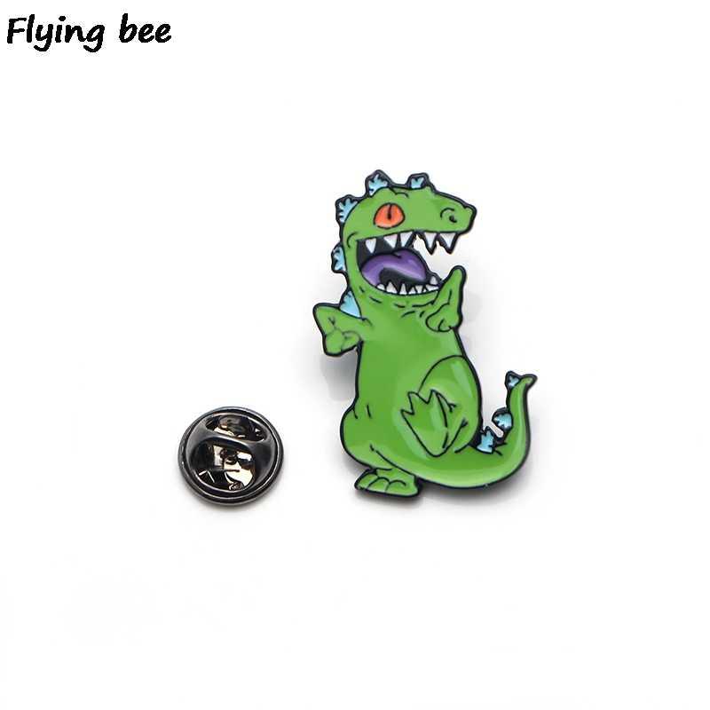 Flyingbee Lucu Dinosaurus Enamel Pin Kartun Bros Pakaian Pin Lencana untuk Denim Blus Pesona Dasi Pin Perhiasan Aksesoris X0159