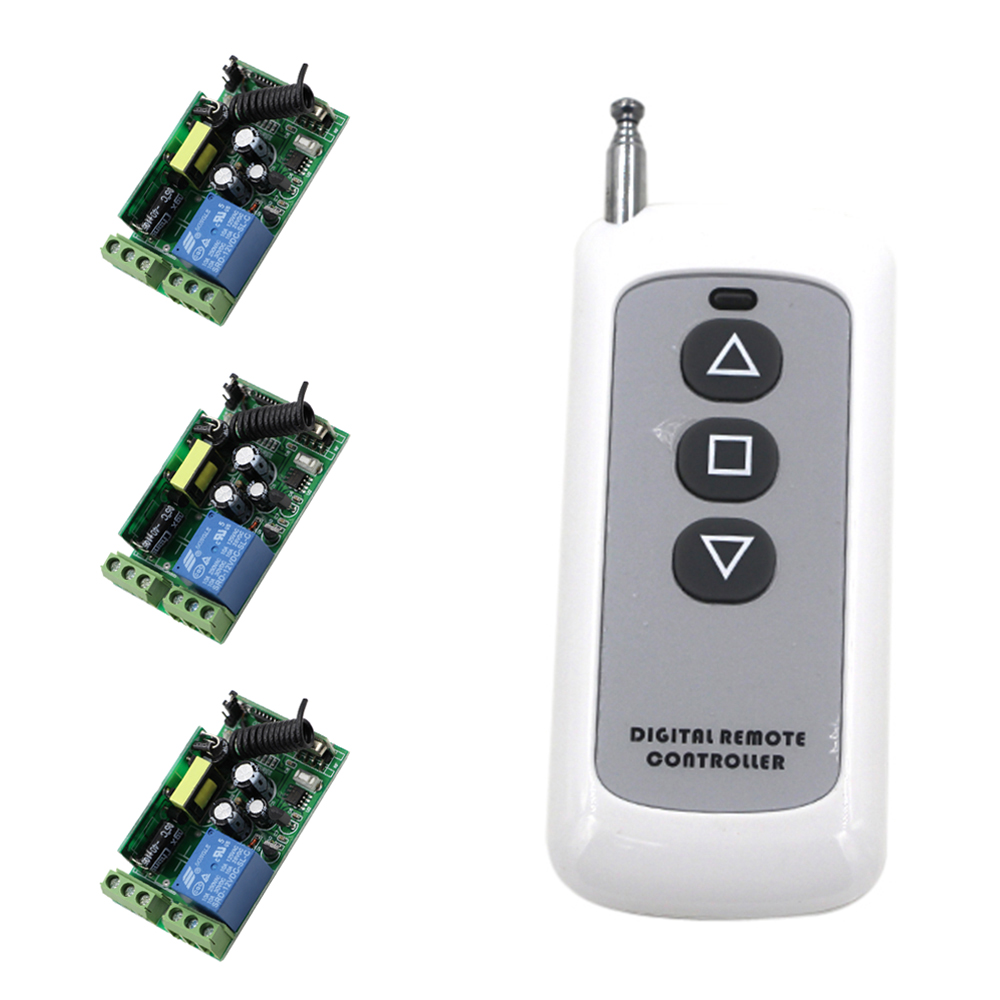 AC85V 110V 120V 220V 250V 1CH Radio Controller RF Wireless Relay Remote Control Switch 315 MHZ 433 MHZ 1 Transmitter+3 Receivers
