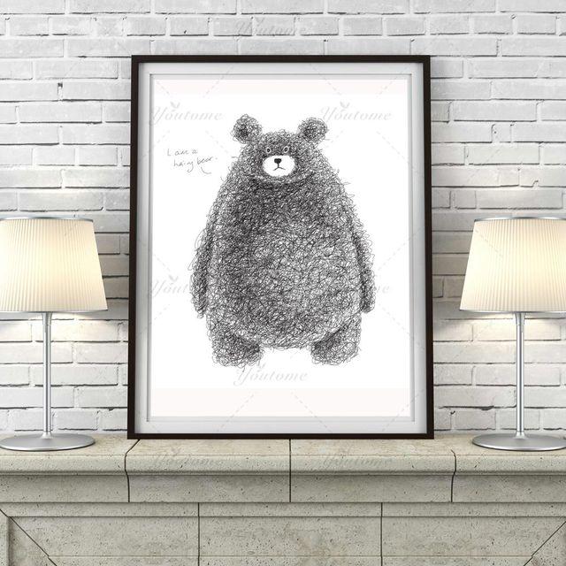 Minimalist Black White Kawaii Bear Large Poster And Prints Animal ...