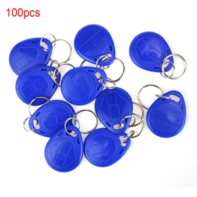 100 Pcs Blue 125KHz RFID EM ID Card Tag Token Key Chain Keyfob Read Only mjk 100 entrance guard inductive id key card black 100 pcs