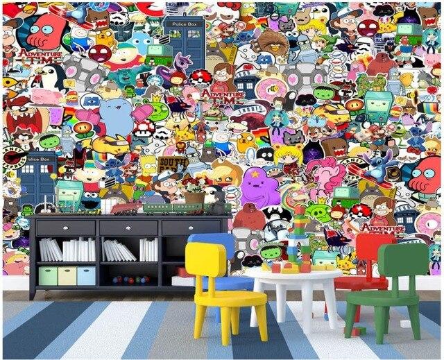 Custom photo wallpaper 3d wall murals wallpaper Cartoon animal graffiti wall children room background wall papers home decor
