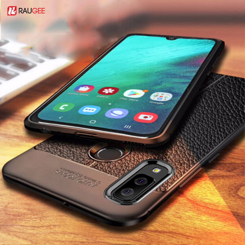 For Samsung Galaxy A40 A30 Case Leather Style Cover Durable TPU Phone Case For Galaxy A 40 30 A20 Cover Full Protection Bumper